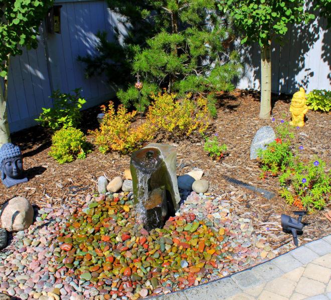JPL Water Feature Mulch Trees